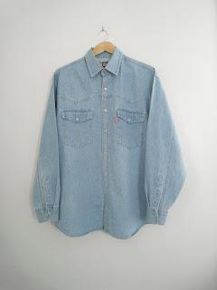 vintage mens denim shirt, denim western shirt, mens denim shirt xl, vintage mens western shirt