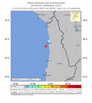 Epicentro sismo 5,2 grados Norte de Chile, 18 de Julio 2012