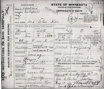 Elsa Fredriksen Roe death certificate