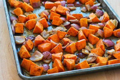 Roasted Sweet Potatoes and Red Onions with Feta [found on KalynsKitchen.com]