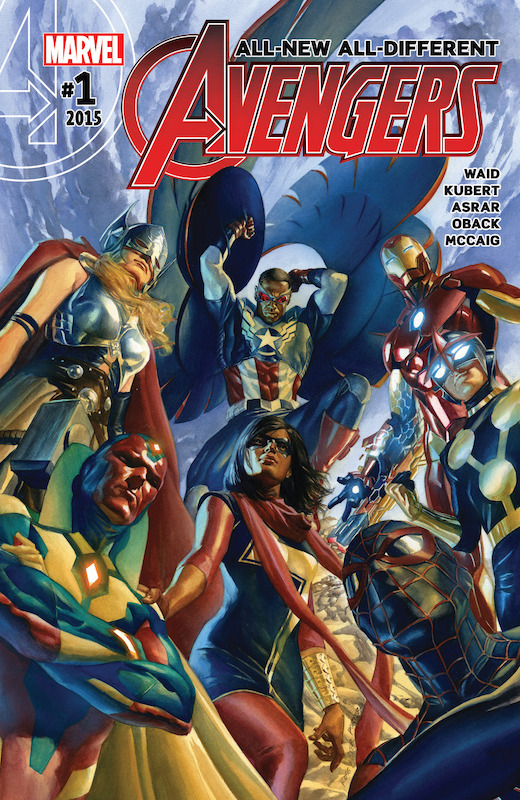 All-New, All-Different Avengers  Story: Mark Waid Art: Adam Kubert, Mahmud Asrar Colors: Sonia Oback, Dave McCaig Letters: Cory Petit Covers: Alex Ross, Mahmud Asrar, Luchiano Vecchio, Jim Cheung, Jason Keith, Cliff Chiang, David Marquez, Jack Kirby, Dick Ayers, Paul Mounts  Avengers created by Stan Lee and Jack Kirby