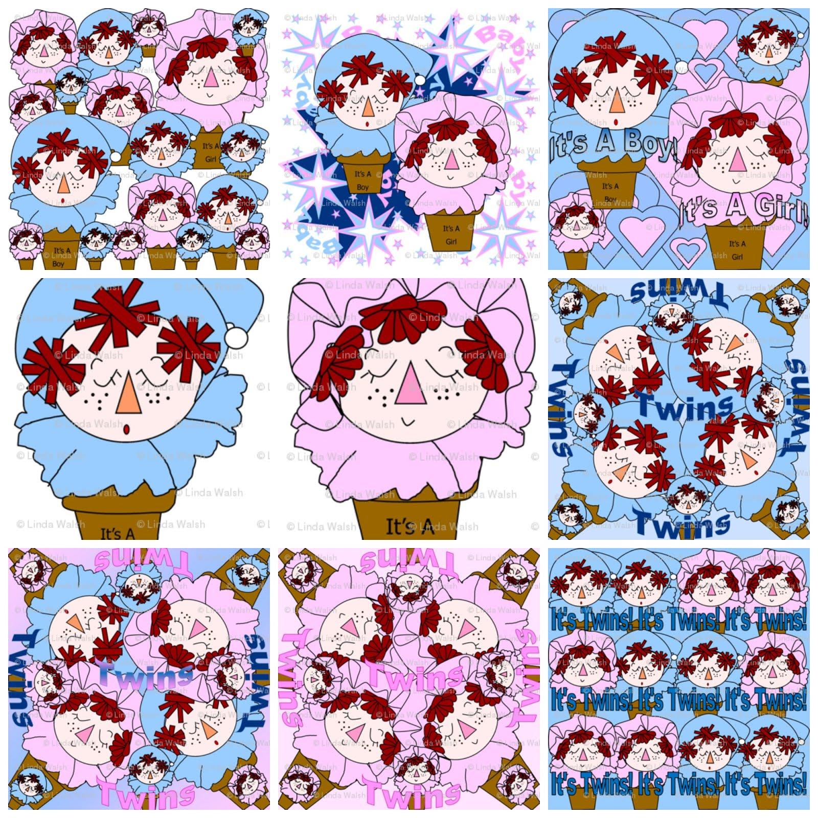 Terracotta Baby Heads Baby Shower Fabric