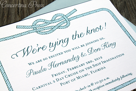 Wedding on a Cruise Ship Tying the Knot Invitation by Concertina Press