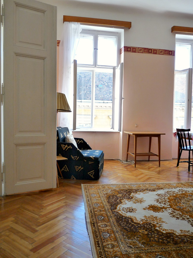 Herringbone wood floors in old Hungarian apartment