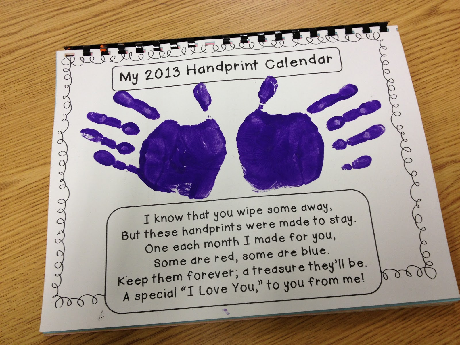Calendar Craft For Kindergarten : Gwhizteacher handprint calendar