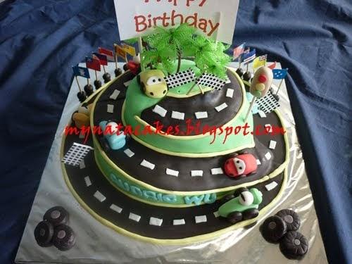 Mynata Cakes: Racing Car birthday cakes for audric