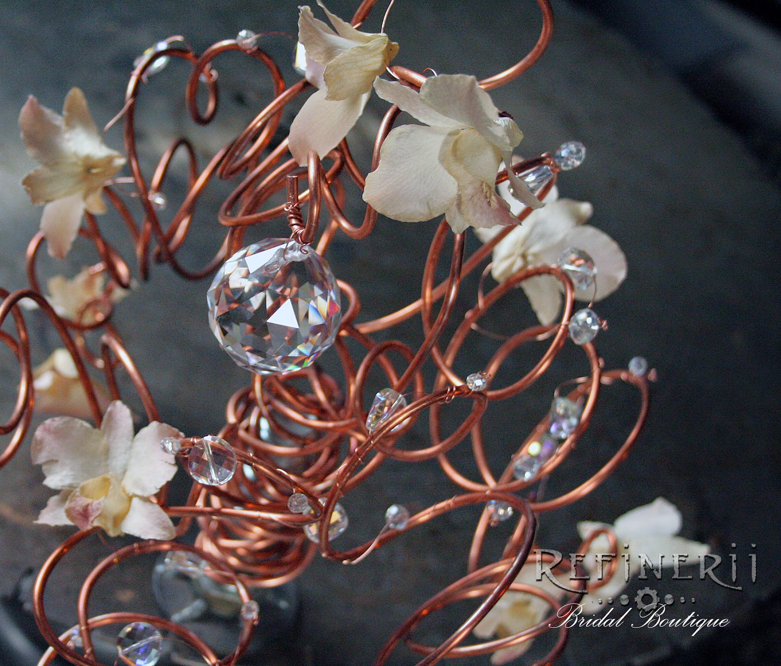 Copper wedding bouquet with crystal & flower accents