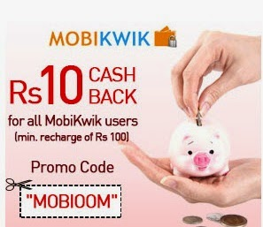Mobikwik : Mobile & Data Card recharge Rs.10 cashback on Rs.100