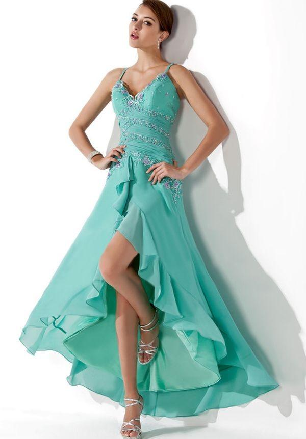 Chiffon Spaghetti Straps V-Neck A-line Hi-lo Prom Dress