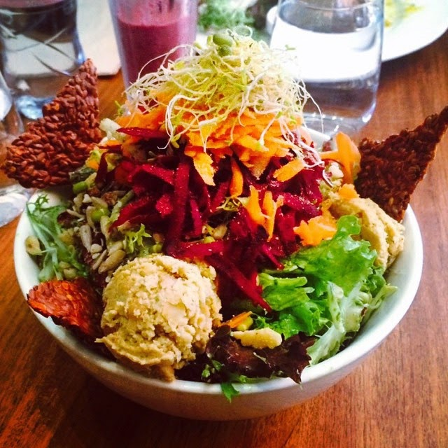 Organic Vegan Vegetarian Salad with Flaxseed Crackers