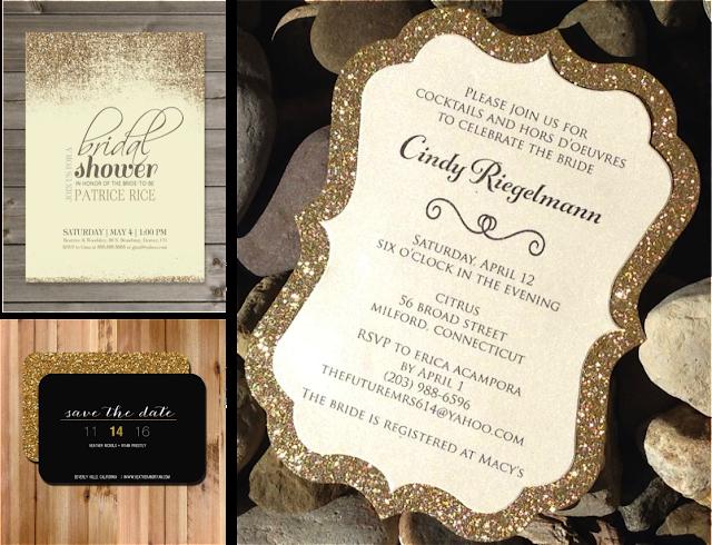Invitaciones glitter gold con purpurina