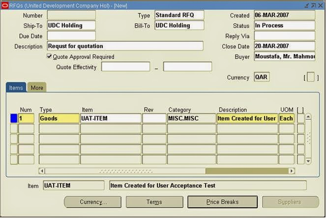 Oracle Applications: Oracle Purchase Order Requisition - Rfq