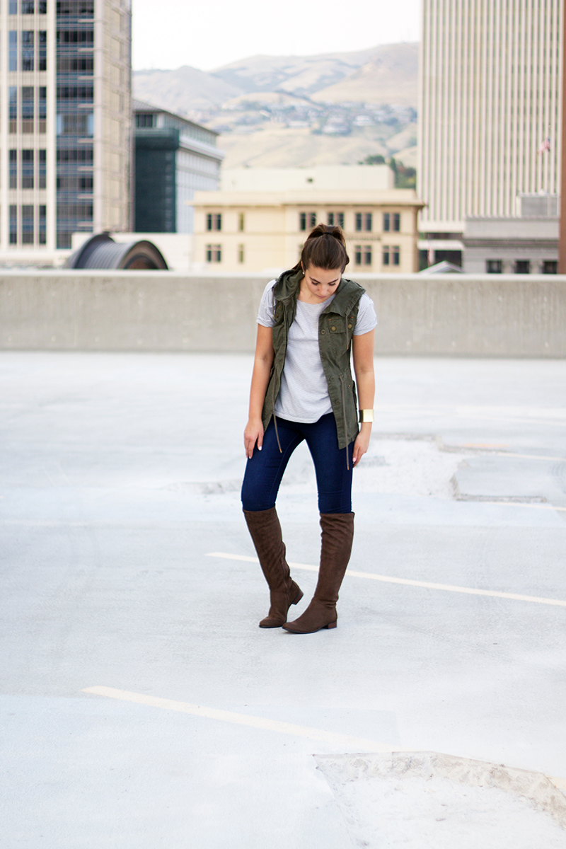military green vest fall outfit