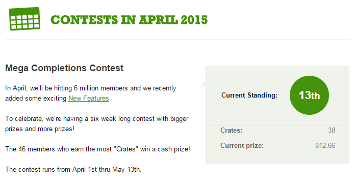 Current standing in the CashCrate Crates competition - 13th with 38 crates and standing to win $13.66