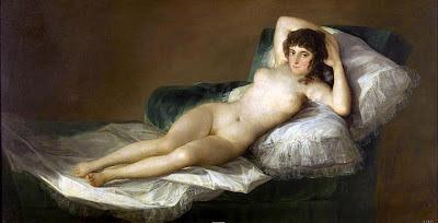 La maja desnuda de Francisco de Goya, óleo sobre lienzo, 98 × 191 cm