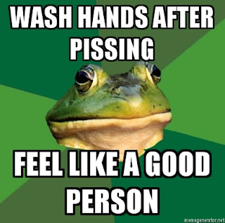 foul bachelor frog washing hands