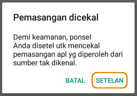 Mengatasi Peringatan Pemasangan Dicekal di Android