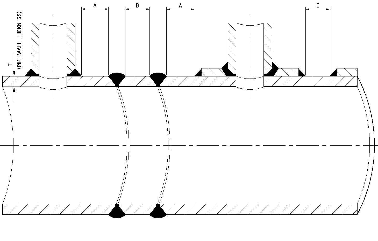 Piping Info Minimum Gap Between Weldings Thumb Rule Welding Joint Diagram Distance Welds