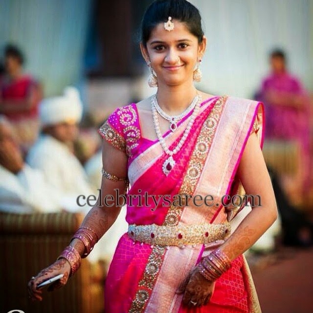 Bride in Pink Saree by Bhargavi