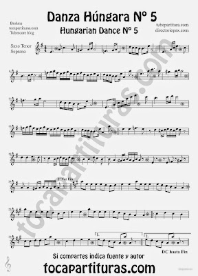 Tubescore Hungarian Dance nº 5 by Johannes Brahms Sheet Music for Tenor Sax and Soprano Sax