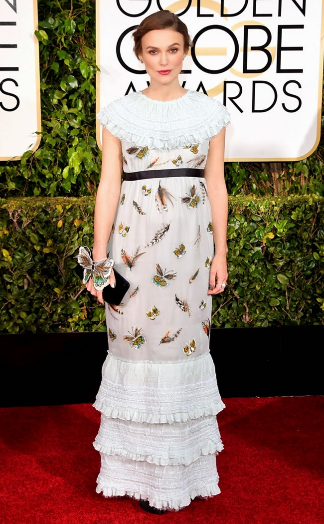 The Golden Globes Awards 2015 Red Carpet - Keira Knightley Baby Bump in Bug-Print Chanel Gown