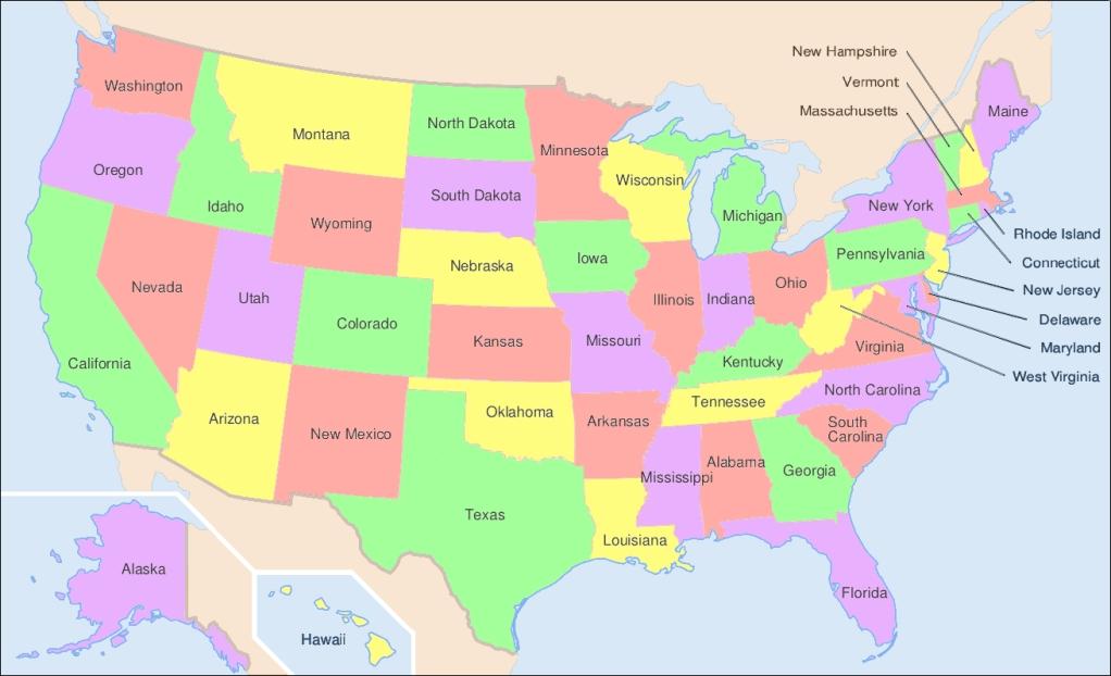 Estados en el mapa de estados unidos