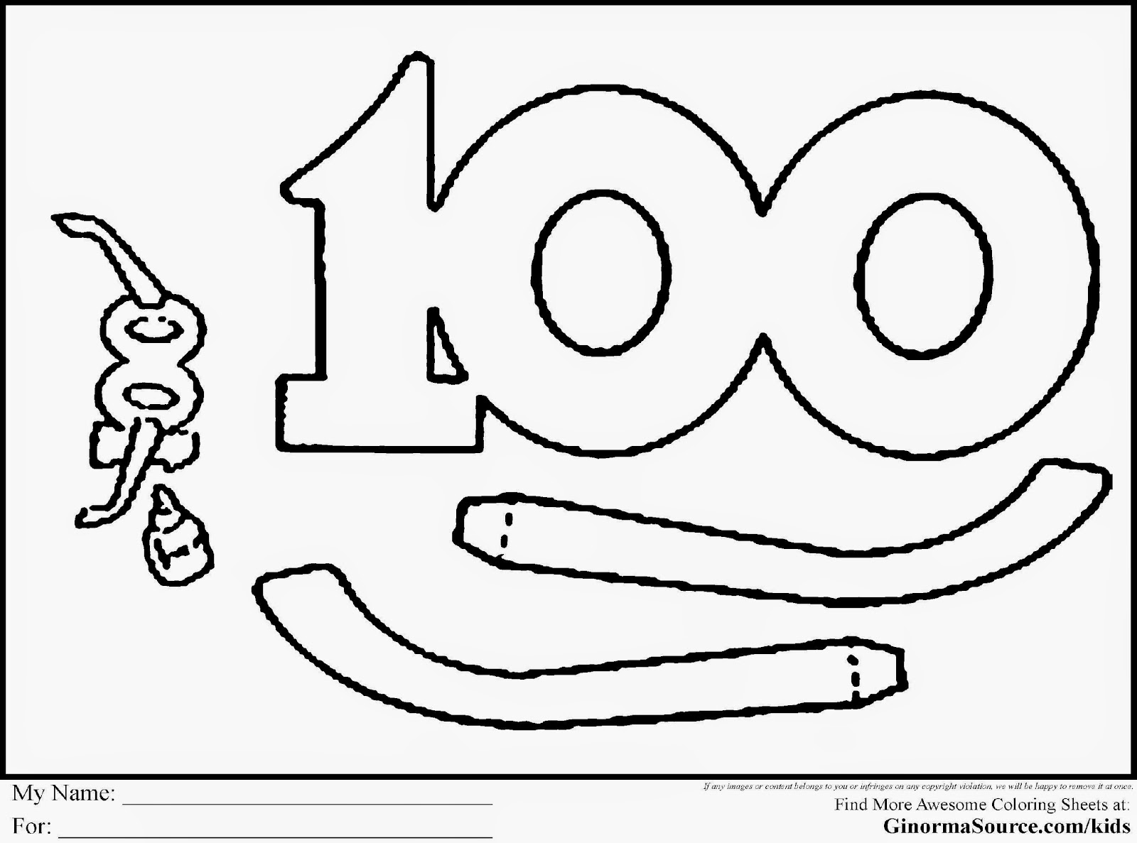 100th Day of School Coloring Pages 100th Day of School Coloring