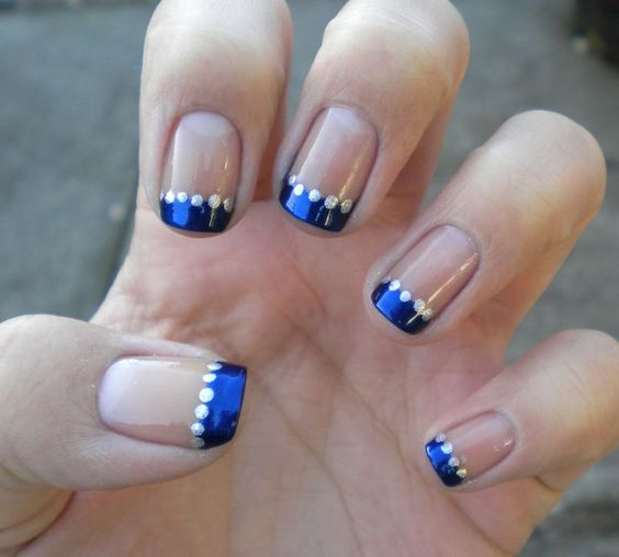 Blue Prom Nails French Tip: Stunning Wedding Nail Art In Blue & Silver