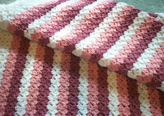 Pink Stripes Baby Afghan