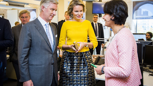 Queen Mathilde and King Philippe of Belgium visited the media group Mediafin in Brussels