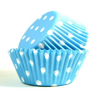 PolkaDot forminha de cupcake poá azul
