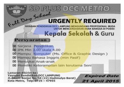 Lowongan Kerja SD Plus DCC Metro, Lampung