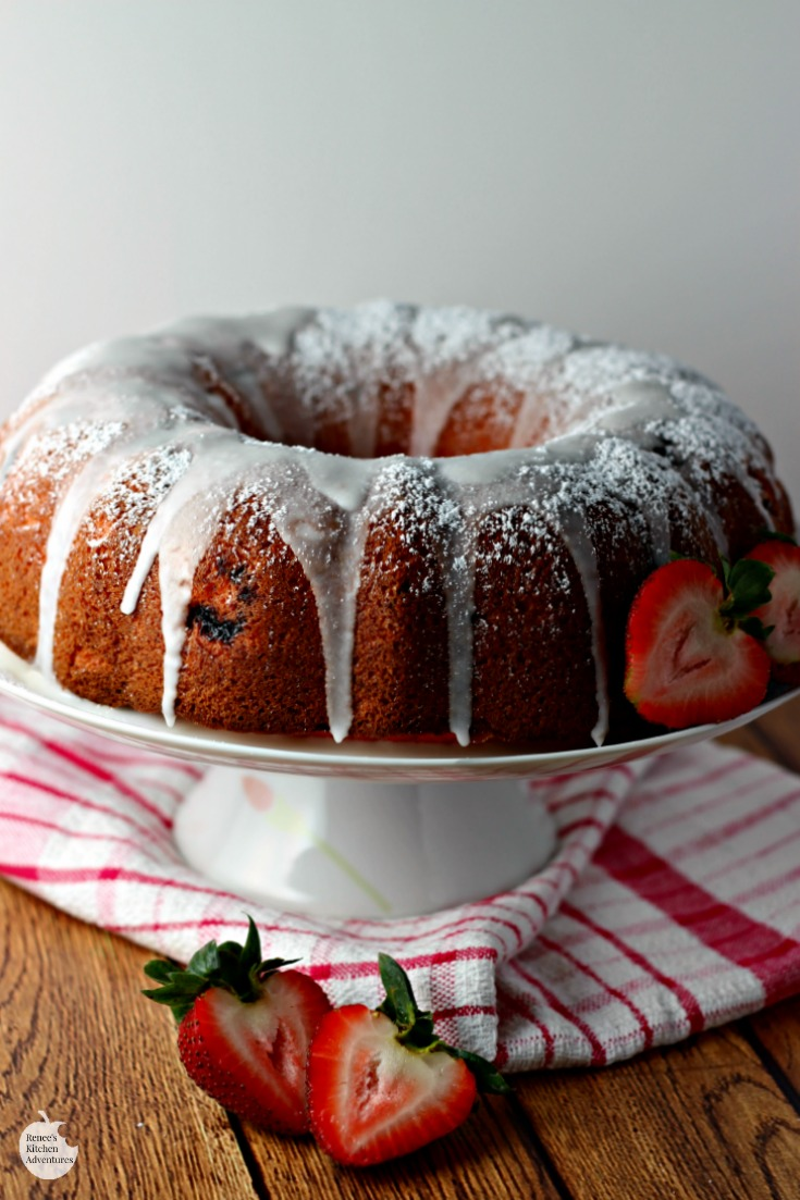 Easy Strawberry Bundt Cake | by Renee's Kitchen Adventures - easy  dessert recipe for a moist strawberry cake bursting with strawberry flavor!