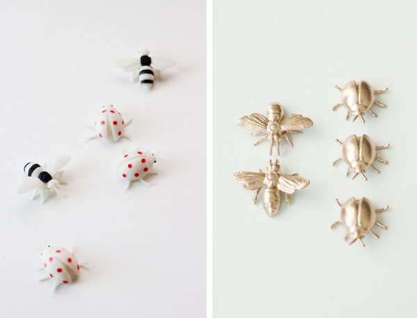 DIY golden love bug pins for Valentine's Day