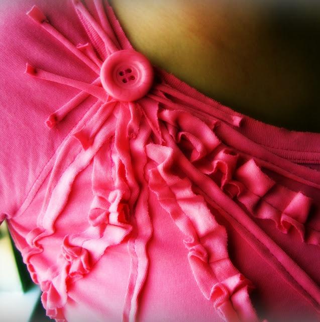 pink star burst shirt refashion, sewing tutorial