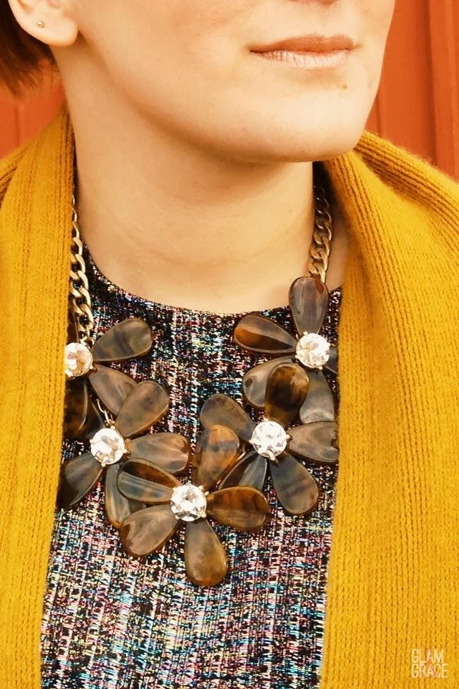 tortoise flower statement necklace