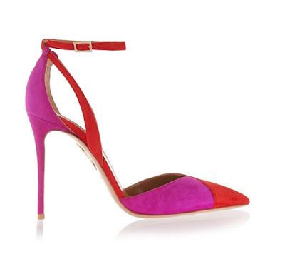 Aquazzura pink and red heels