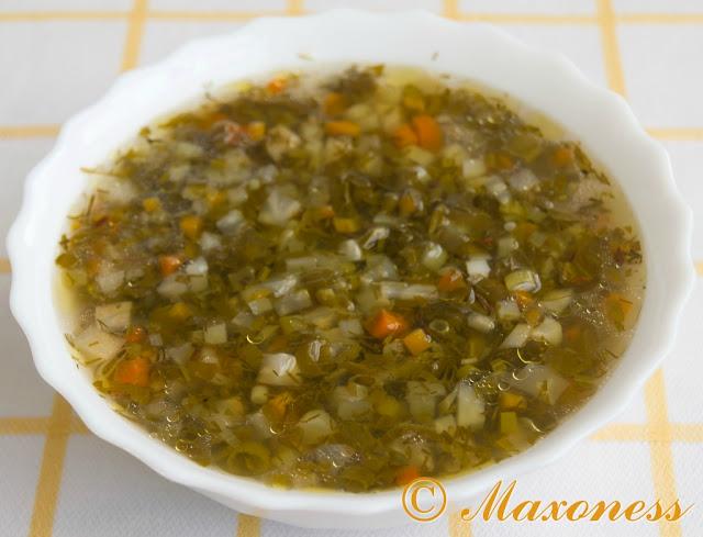 Зелёный суп. Греческая кухня.