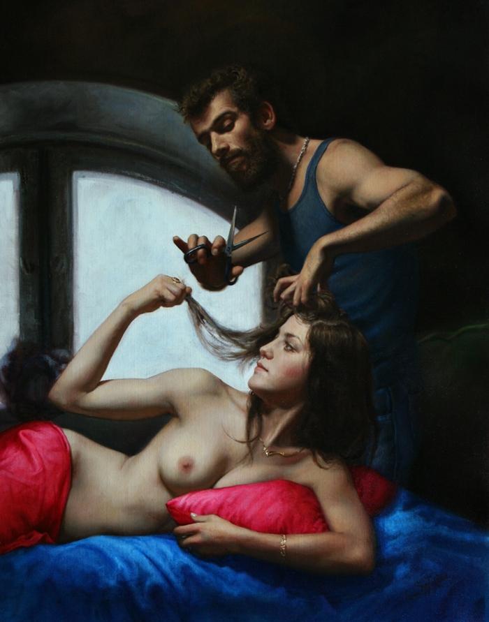 Cesar Santos 1982 | cubano pintor figurativo estadounidense | Retrato Desnudo