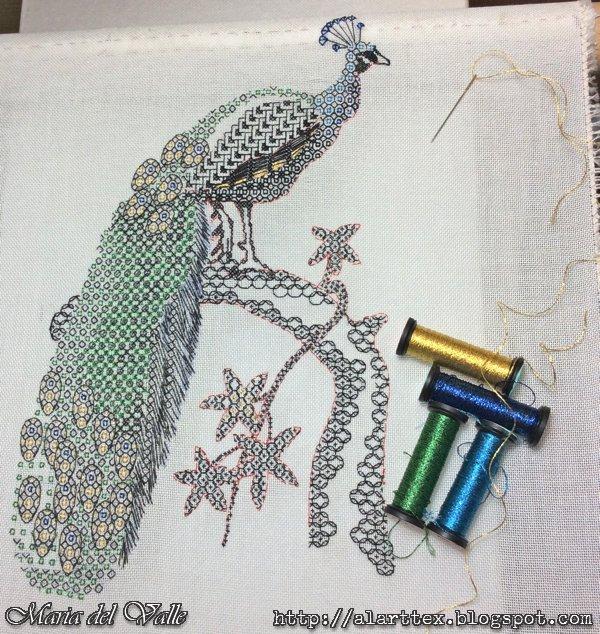 Blackwork Embroider-Peackok-5