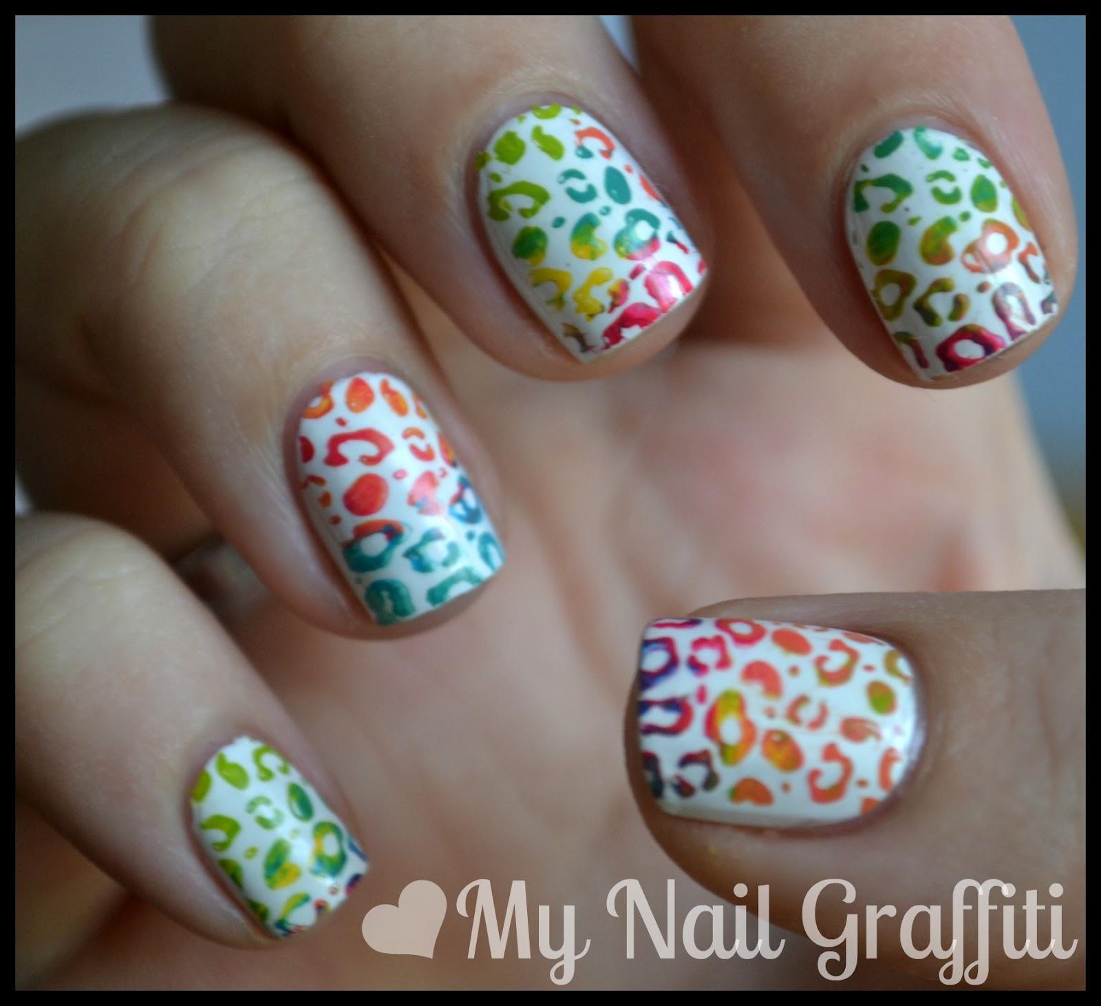 My Nail Graffiti: Multi Colored Leopard Nail Art