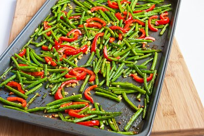 ... for Roasted Green Beans and Red Bell Pepper with Garlic and Ginger