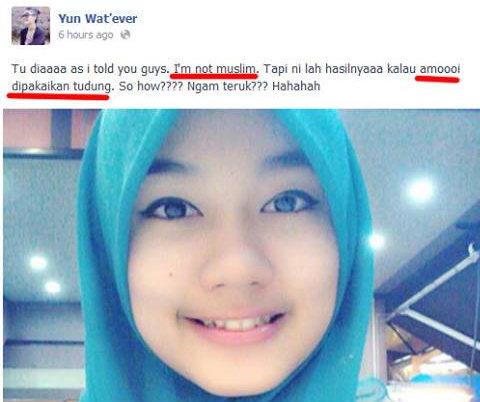 Gadis Bukan Islam Perli Gadis Islam  Yang Tak Pakai Tudung
