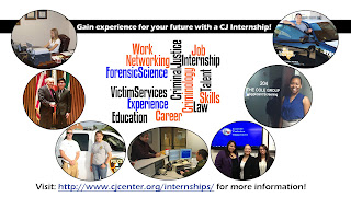 Sign encouraging students to join internship program, with photos from various opportunities in the field.