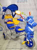 Samping Family F9031T Kuda 2 Kursi Blue Sepeda Roda Tiga