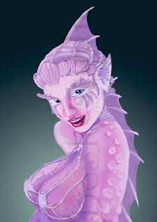 ilustración de una mujer con apariencia de sirena y tentáculos