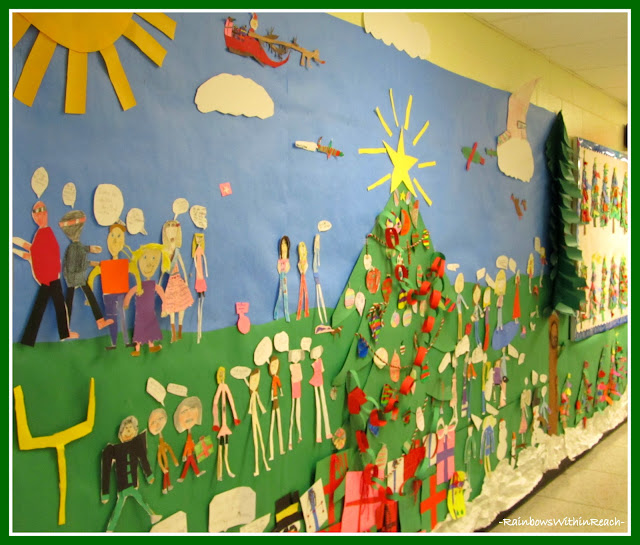 "photo of: Floor to Ceiling ""Bulletin Board"" for Christmas Season (Christmas Bulletin Board RoundUP via RainbowsWithinReach)"