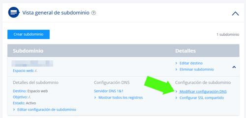 Modificando la configuración DNS de un subdominio en 1and1