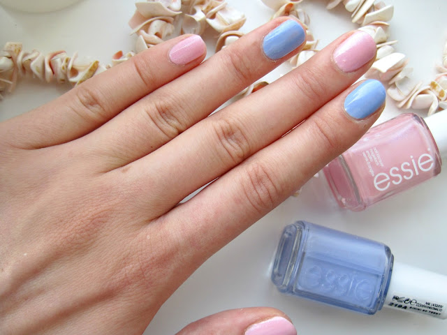 Essie We're In This Together and Essie Bikini So Teeny swatch review candyland nails