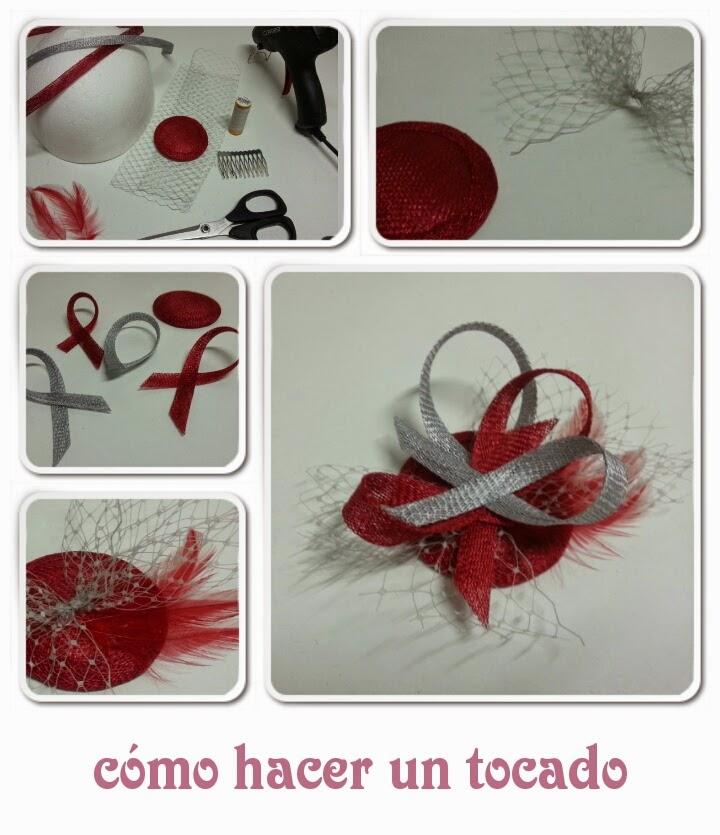tocado sencillo en colores plata y rojo para boda realizado paso a paso con toda la información detallada